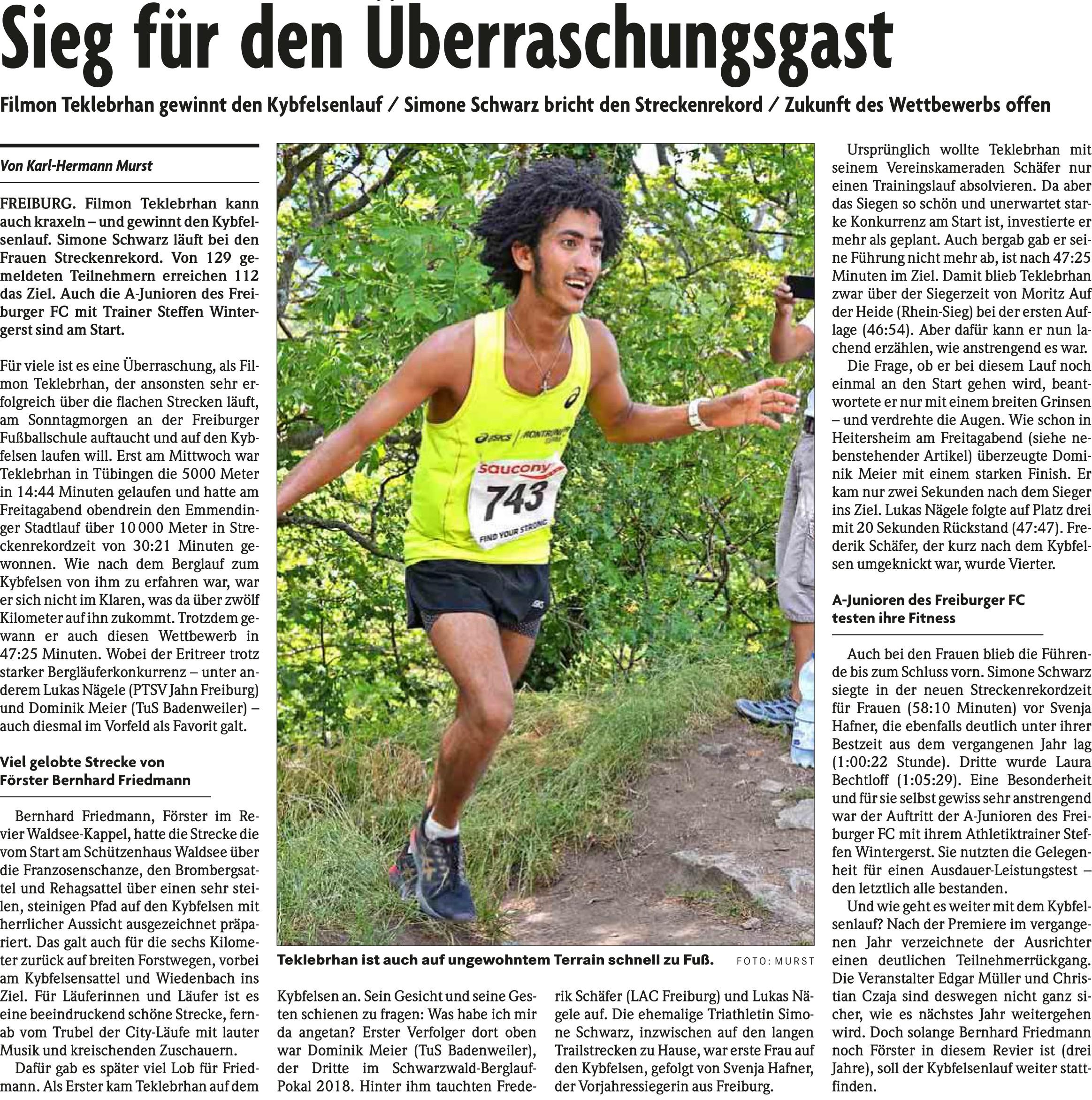 Bericht 2. Kybfelsenlauf 2019